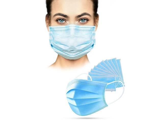 Маски медицинские пайка с фиксатором для носа одноразовые синие -  от 50 штук