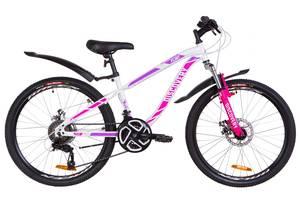"""Велосипед 24"""" Discovery FLINT AM 14G DD St с крылом Pl 2019 (бело-малиновый)"""