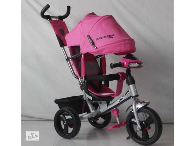 купить бу Трехколесный велосипед Crosser One T1 фара (EVA колеса),розовый*** в Одесі