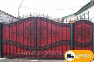 Кованые ворота с калиткой из профнастилом, код: Р-0185