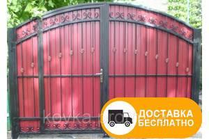 Кованые распашные ворота с встроенной калиткой, код: Р-0117