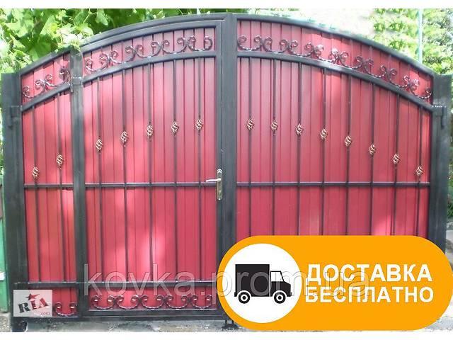 бу Кованые распашные ворота с встроенной калиткой, код: Р-0117 в Ладыжине