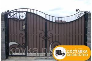 Ковані ворота з вбудованою хвірткою з профнастилом, код: Р-0132