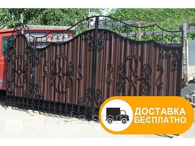 купить бу Ворота из профильным листом с элементами ковки, код: Р-0156 в Ладыжине
