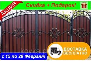 Ворота з профнастилом з кованими елементами, код: Р-0120