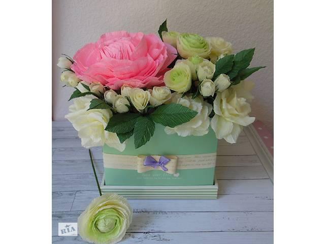 e5242d04170106 Букет з цукерок у коробці гігантська англійська троянда і кремові троянди-  объявление о продаже в