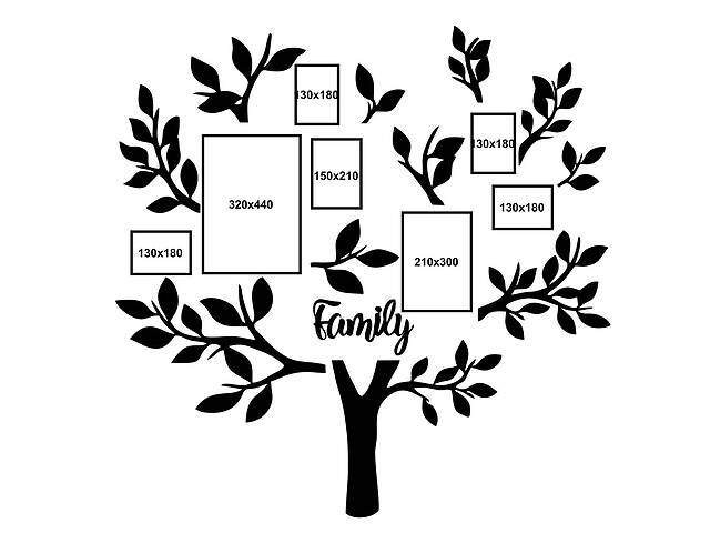 Декор Семейное дерево Семейная фоторамка настенная 1.5 м (avb_fam2)- объявление о продаже  в Киеве
