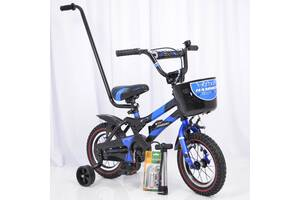Детский велосипед c родительской ручкой и корзинкой HAMMER 12 дюймов S500 боковые колеса и насос от 3 лет