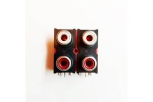 Гніздо/роз'єм RCA 2х2 на 4 входи для плати червоний