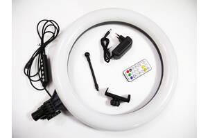 Кольцевая LED лампа RGB MJ38 38см 220V 1 крепл.тел USB + пульт
