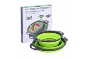 Набор складных дуршлагов (2 штуки), Дуршлаг силиконовый складной большой и маленький, Корзины для овощей (W86)