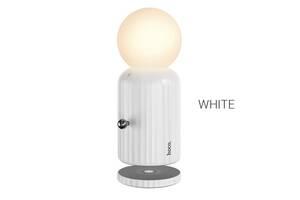 Нічник/Настільна нічна лампа Hoco H8 Jewel з беспровідною зарядкою White