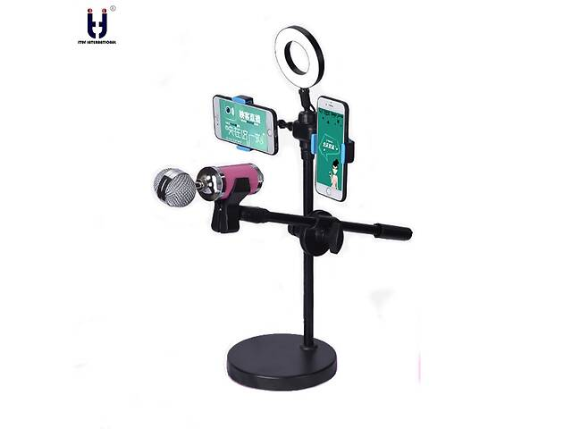 бу Селфи кольцо лампа 360 градусов на штативе с держателем на 2 телефона + микрофон Ituf LED подсветка 8 см SELFE-L1C2 в Одессе