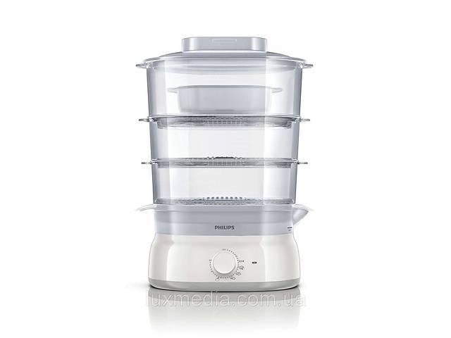 продам Трехъярусная пароварка с прозрачными чашами Philips HD9125/00 (контейнеры для яиц, чашадля риса, 9л, 900 W) бу в Луцке
