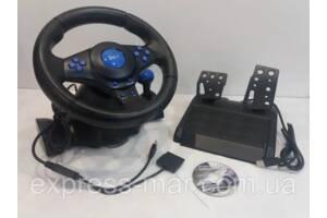 Игровой мультимедийный универсальный руль 3в1 PS3 / PS2 /  PC USB c педалями газа и тормоза