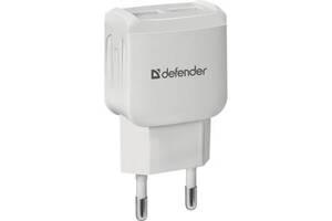 Зарядное устройство Defender EPA-13 white, 2xUSB, 5V / 2.1A (83841)