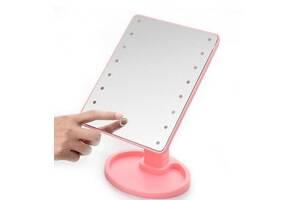 Зеркало для макияжа с подсветкой Large Led Mirror pink, 16 led