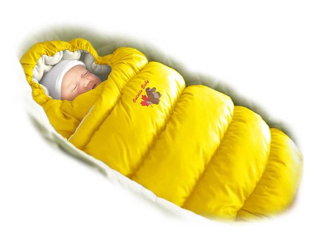 бу Пуховый конверт-трансформер «Inflated» (мех) желтый в Дубно