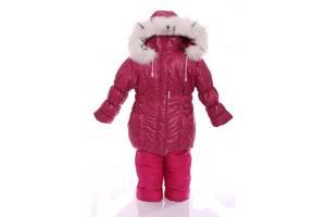 Зимний костюм для девочки Классика с рисунком малиновый лабиринт