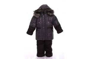 Зимовий костюм для хлопчика Класика з малюнком коричневий квадрат