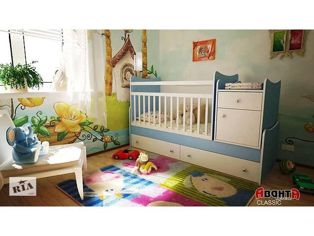 бу Детская кровать трансформер Аванта CLASSIC (детская кровать + кровать для новорожденных + столик + ящик) в Києві