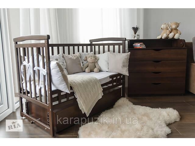 АКЦИЯ! Кроватка на шарнирах Лодочка Де сон + постельный набор 9в1+ матрас  Венге