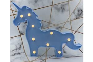 Декоративный Led ночник, светильник Единорог Голубой