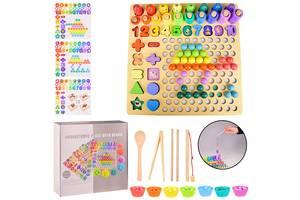 Деревянная игрушка 4 в1 WD2703 мозаика, пирамидки, рыбалка, цифры