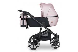 Детская коляска 2 в 1 из эко-кожи с алюминиевой рамой универсальная Verdi Verano 03, розовый
