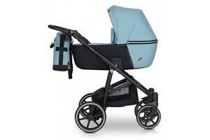 Детская коляска из эко-кожи 2 в 1 с алюминиевой рамой универсальна Verdi Verano 02, голубой