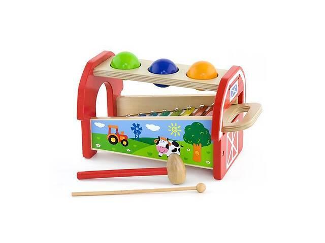 """Детская развивающая деревянная игрушка 2в1 Viga Toys """"Ксилофон"""" музыкальный с молоточками, разноцветный- объявление о продаже  в Киеве"""