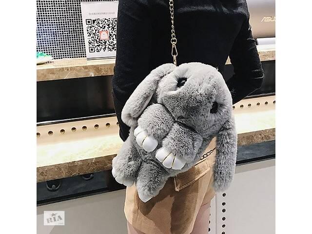 бу Детская сумка рюкзак меховой заяц Светло-серый в Днепре (Днепропетровск)