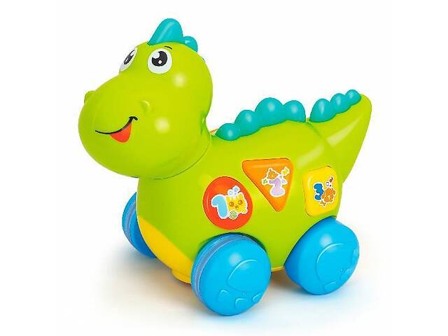 купить бу Детская игрушка Hola Toys Динозавр с мелодиями, звуковыми эффектами, английскими фразами, зеленый в Киеве