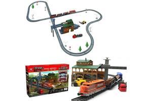 Детская железная дорога на две скорости поезда - Локомотив со станцией загрузки леса BSQ длина 450 см