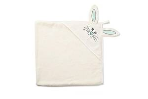 """Детское махровое полотенце-уголок с капюшоном для новорожденных Twins """"Зайчик"""" после купание, 100x100, бежевый"""