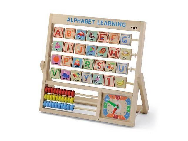 купить бу Детский деревянный набор для обучения счета и чтения Viga Toys Английский алфавит и часы в Киеве