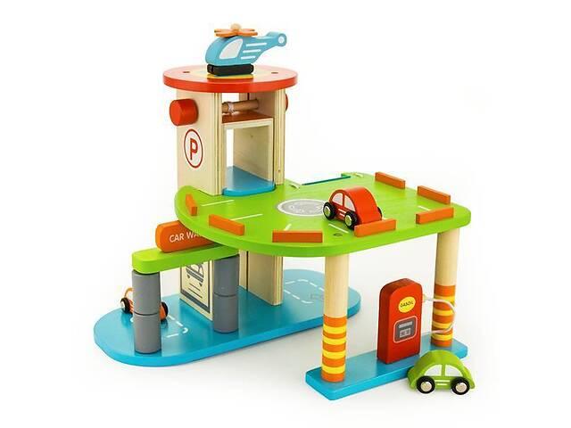 купить бу Детский деревянный игровой набор Viga Toys Паркинг 3 уровня с машинками в Киеве