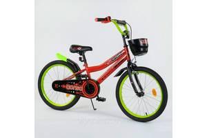 """Детский двухколесный велосипед 20"""" с ручным тормозом металлическими дисками и корзинкой Corso 20273 оранжевый"""