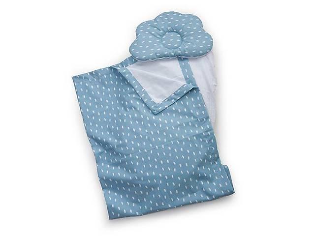 продам Детский набор в коляску Twins 100% хлопок (плед, ортопед. подушка, простынь) синий. Подарок новорожденным бу в Киеве