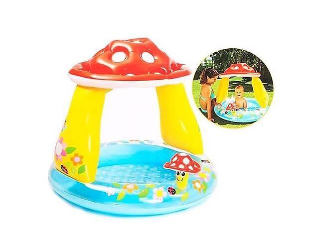 Детский надувной бассейн Гриб-мухомор Intex с тентом. Надувной игровой комплекс для детей от 1 года