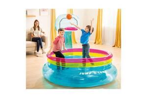 Детский надувной развлекательный батут с кольцом для баскетбола Intex, 61 см