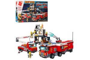 Детский тематически конструктор Qman Пожарные машины 996 дет. с фигурками Интересный подарок мальчику от 6 лет
