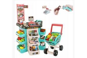 Дитячий ігровий набір супермаркет великий 668-76 візок продукти звук, світло каса