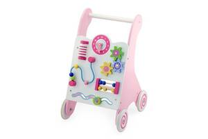 Ходунки-каталка с игровым центром детские деревянные Viga Toys, 30 х 34,5 х 48,5 см. Подарок девочке на 1 год