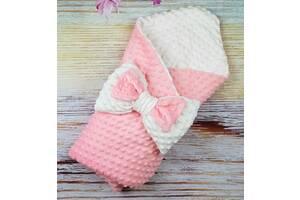 Конверт для новорожденных  демисезонный плюшевый минки двухсторонний розовый/ваниль