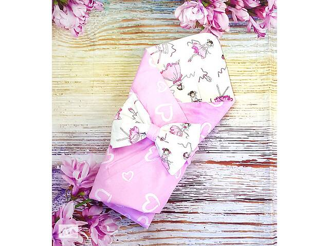 Конверт на выписку в роддом летний для новорожденных для девочки розовый балерины и сердечки
