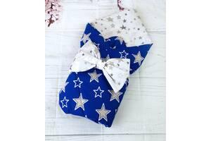 Конверт одеяло демисезон  для новорожденных  для мальчика синий/белый звезды