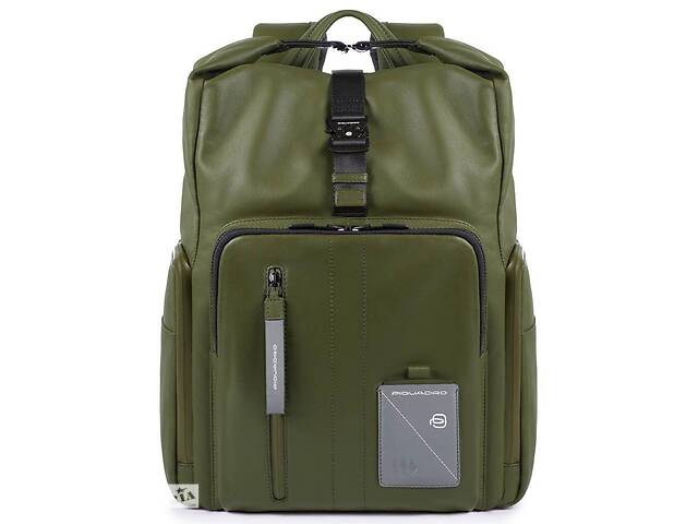 купить бу Кожаный городской рюкзак Piquadro Explorer оливковый 19 л в Киеве