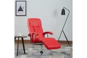 Крісло масажне з підставкою vidaXL 248596 еко-шкіра червоний