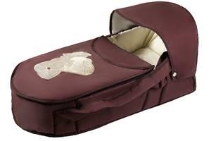 Люлька-переноска Babyroom BLA-056 с твердым дном аппликация  шоколад (мишка стоит с сердцем)
